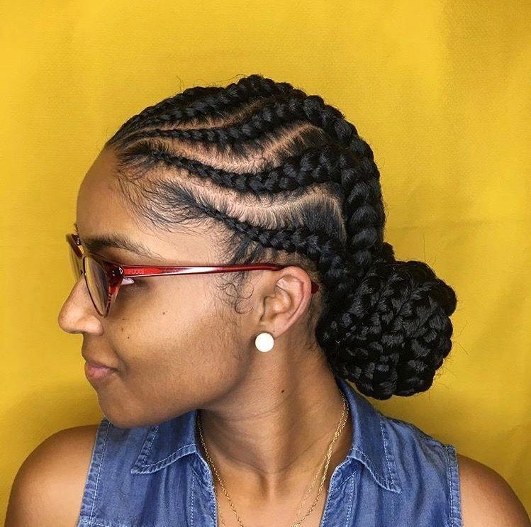 Goddess Braids With Low Bun Natural Hair Styles Braided Ponytail Hairstyles Hair Styles