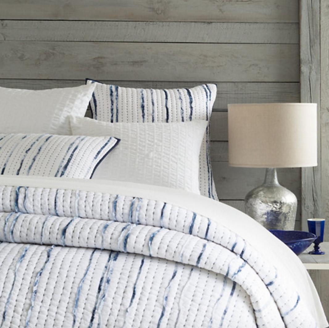 Draftsman Quilt Coverlet White Linen Bedding Bed Linen Design Beige Bed Linen