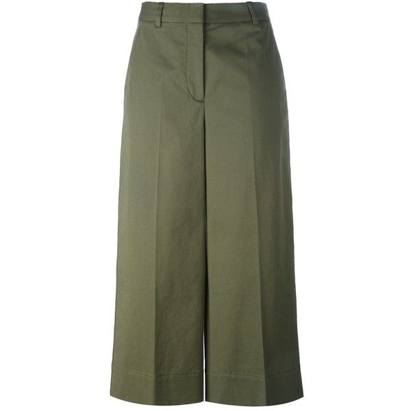 3.1 Phillip Lim Cropped Wide Leg Trousers ($421) ❤ liked on Polyvore featuring pants, capris, green, cropped pants, green high waisted pants, wide leg cropped trousers, green cropped pants and green pants