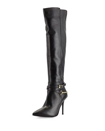 Leather Pointy-Toe Harness Boot, Black by Charles David at Neiman Marcus Last Call.