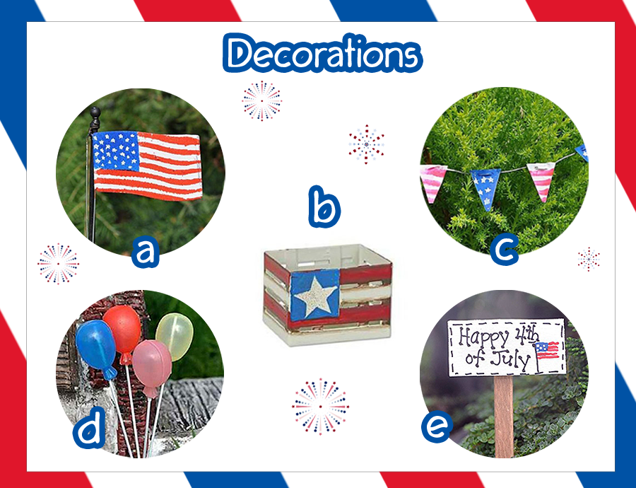 Decorations www.teeliesfairygarden.com Get the party starting and make a big hit with these decorations. #fairy4thofjuly