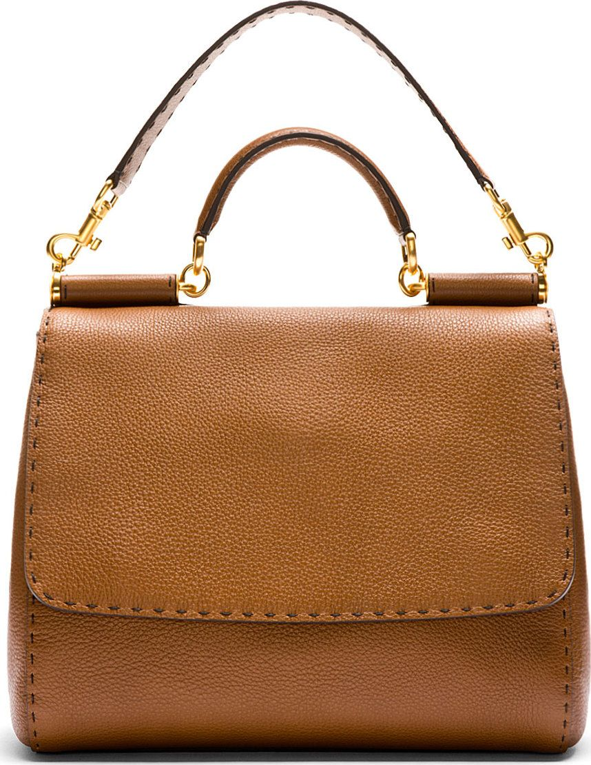 cf2201c5602e Dolce   Gabbana Brown Pebbled Leather Miss Sicily Large Bag 42003F070007  Structured pebbled leather bag in brown. Contrasting black running stitch  ...