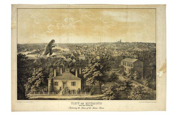 Digital Print, Richmond virginia, monster art, kaiju, Wall Art, geekery, Richmond VA art, 19th century, Richmond Art, alternate histories,