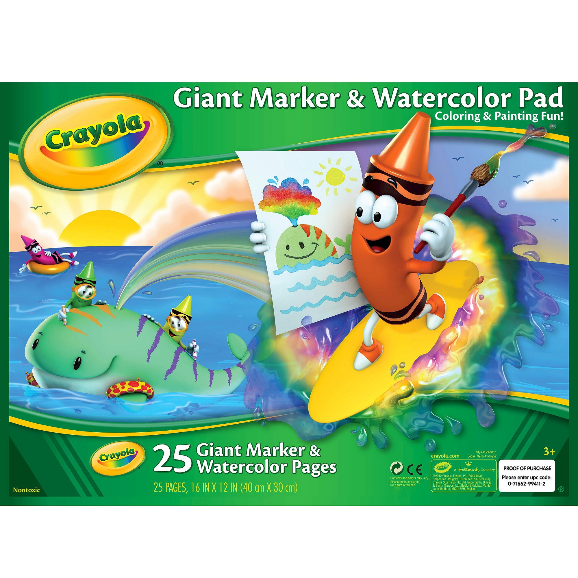 Crayola Giant Marker Watercolor Pad 25pgs White Art Videos