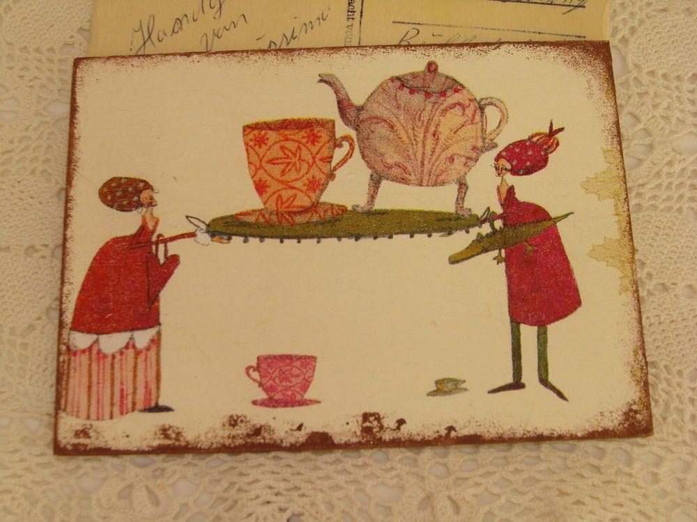 WoodenArtCard HolzPostkarte Tee Tanten Motiv Silke Leffler Nostalgie