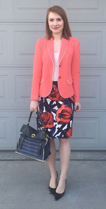 2f4fdf35275b8 coral blazer floral pencil skirt work outfit