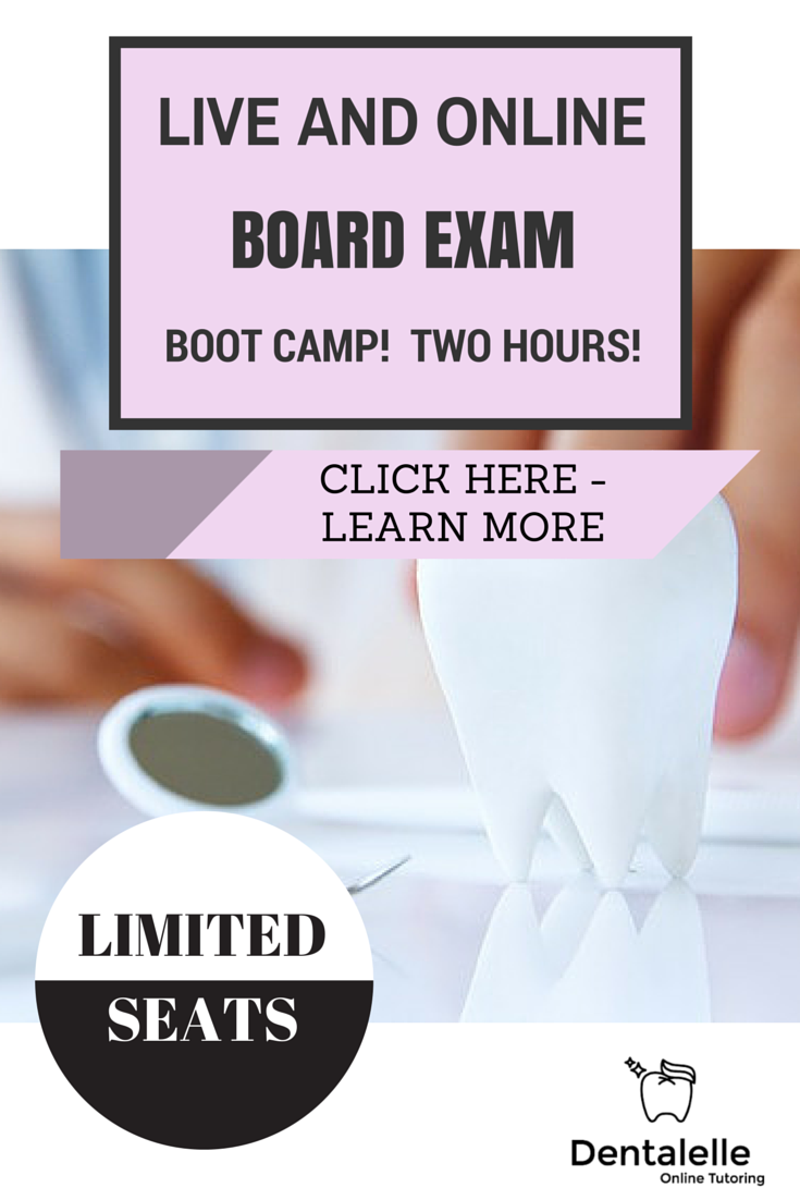 Dentalelle's popular 'Board Exam Boot Camp' is back! Test your knowledge before you take the board exam! Have you studied enough? Not enough studying? Are you prepared for all aspects of the board exam? FIND OUT!When and Where?--Online! Anyone can join from the comfort of their own home. Limited seats available - only 22 students will be enrolled so I can focus on everyone's questions and discussion. Saturday January 9th at 9am-11am EST.How to Join?--Register here and you will be sent a…