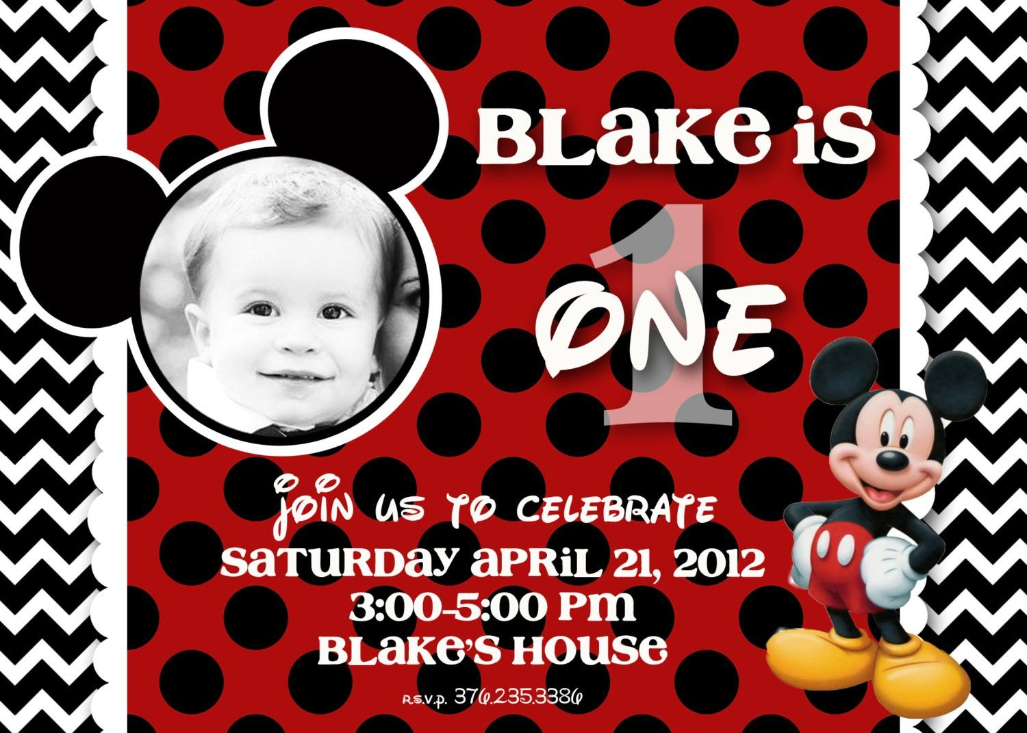 Mickey Mouse Birthday Invitations Walmart Fun 1st Parties