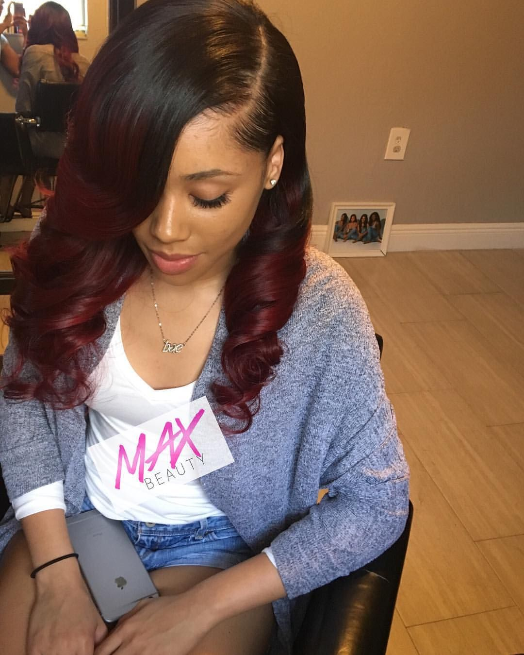 Black Cherry Full Sew In With Curls Using 4 Bundles Of Brazilian Straight Purchased And Custom Color By Us Max Doll Hair Styles Sew In Curls Long Hair Styles