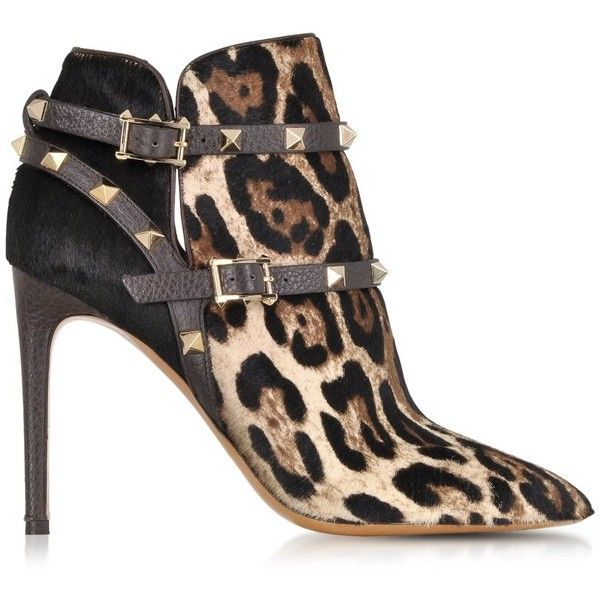 Valentino Shoes Rockstud Animal Print Haircalf Ankle Boot featuring polyvore fashion shoes boots ankle booties heels booties ankle boots dark brown studded heel booties leopard bootie studded booties leopard print ankle boots leopard boots