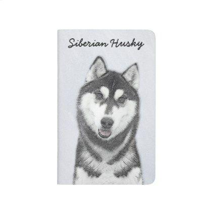 Siberian Husky Black And White Painting Dog Art Journal Zazzle