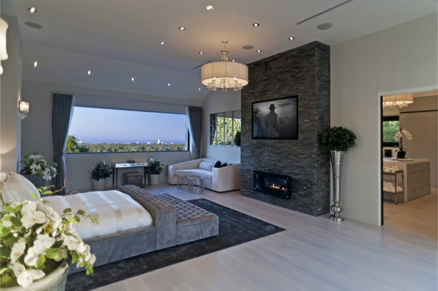Bedroom Slate Wall Wall Mounted Tv With Infinity Fireplace Master Bedroom Fireplace Ideas Modern Bedroom Design Luxury Master Bedroom Design