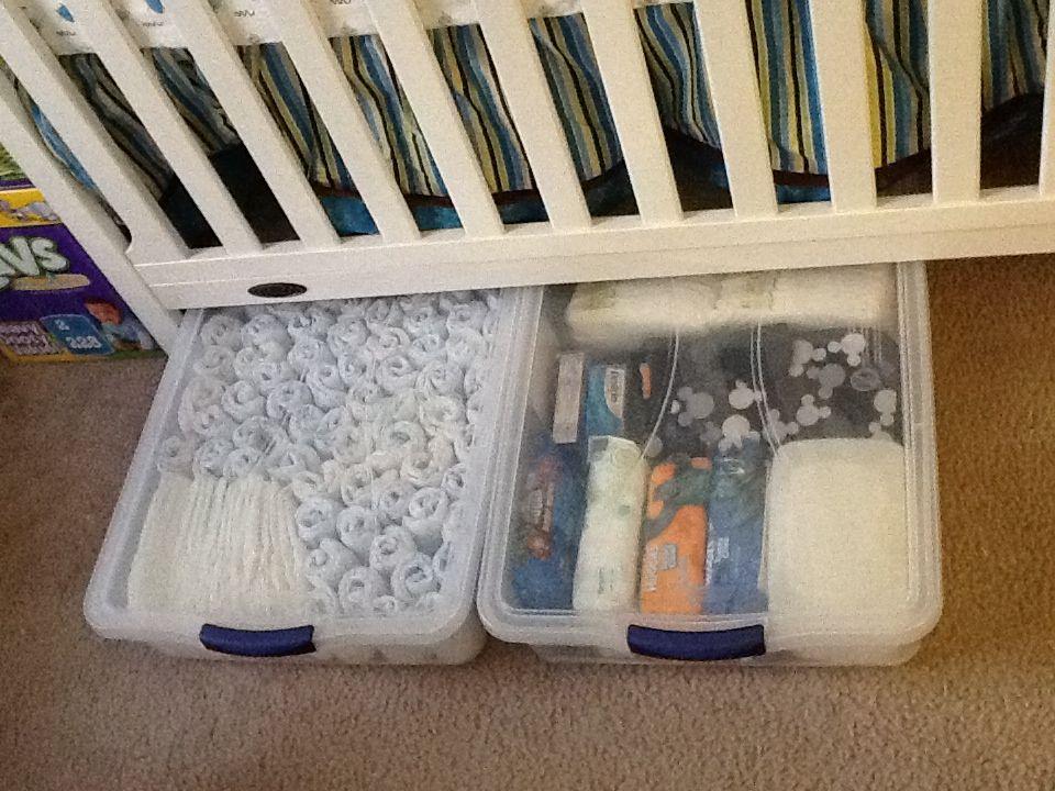 Under Crib Storage Ideas :)