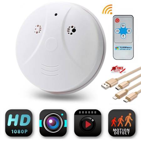 P2P Smoke Detector WiFi Wireless 720P IP Camera DVR Digital Hidden Nanny Video