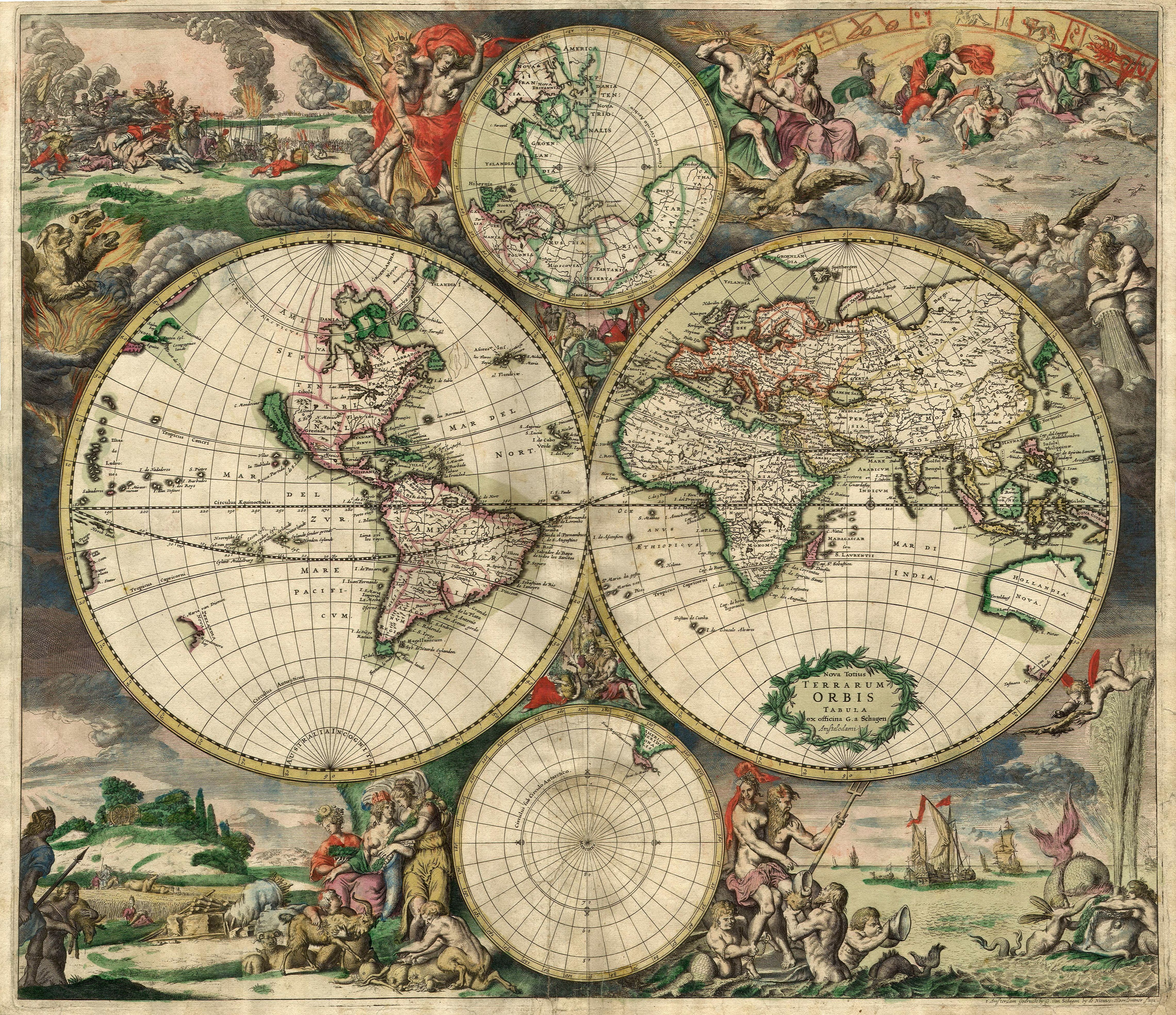 Map of the World from 1689 17th