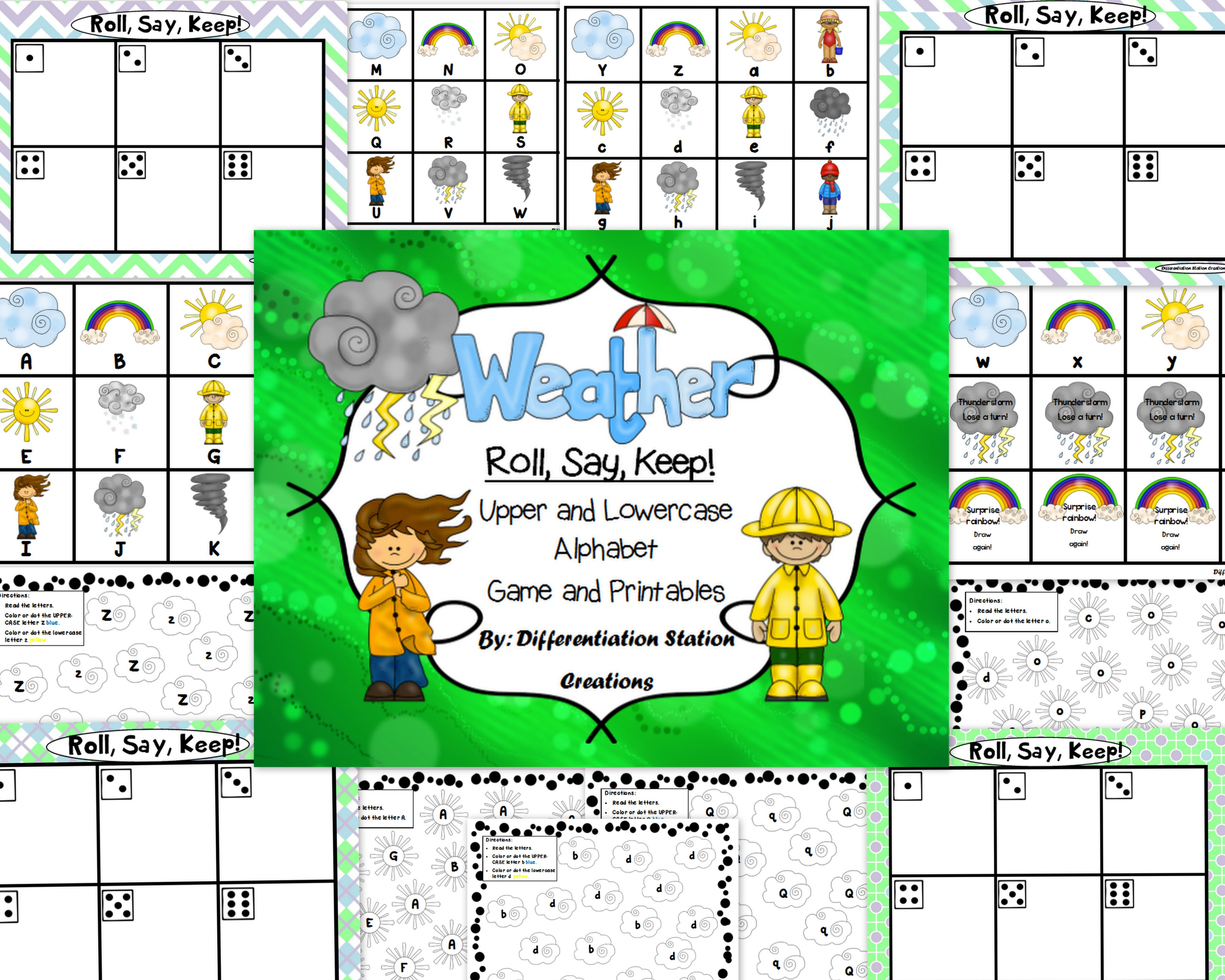Weather Roll Say Keep Alphabet Center Game And Printables