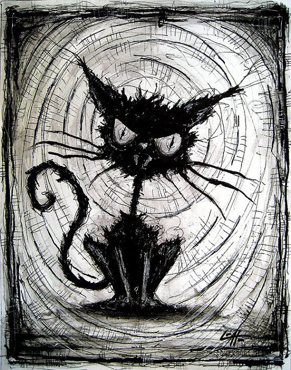 Print 8x10 black cat halloween cats stray spooky alley dark art pets cute