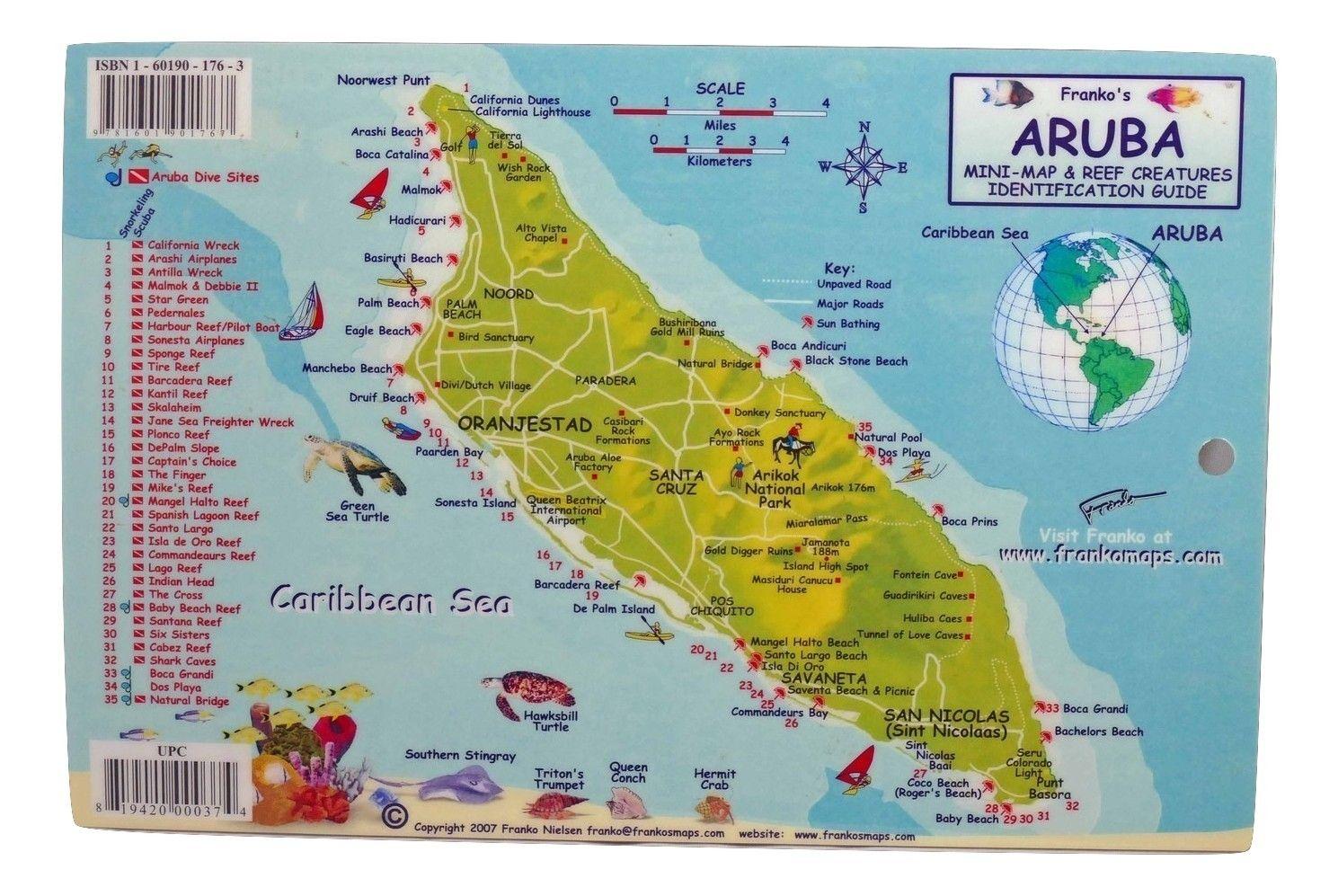 Aruba Dive Map & Coral Reef Creatures Guide Laminated Fish ...
