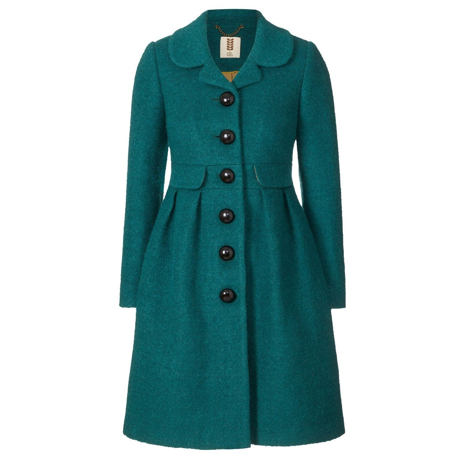Amazon Com Orla Kiely Womens Boucle Coat Teal S Clothing