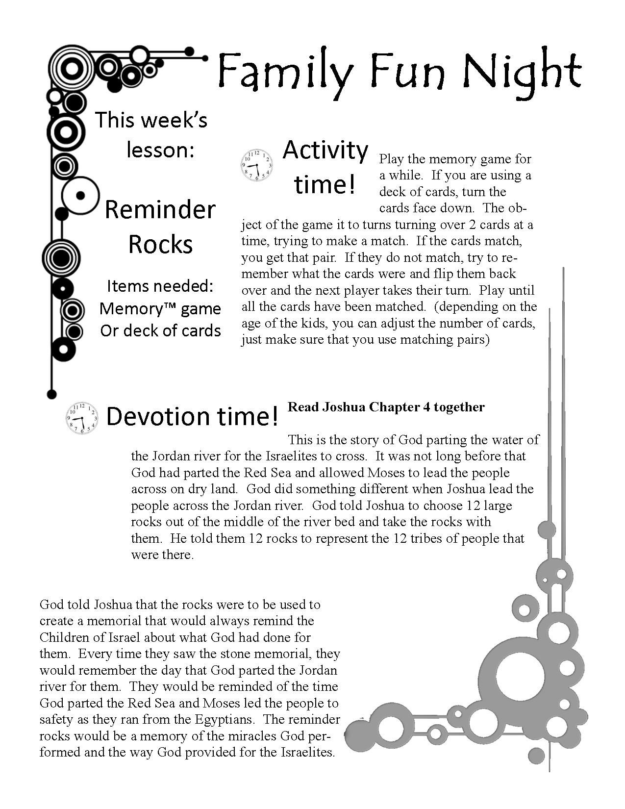 Free Family Fun Devotion Time Printable Game Lesson