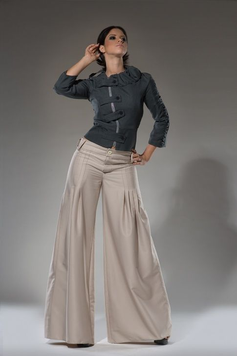 High waist Tan Wide leg women dress pants - $110.00. http://www ...