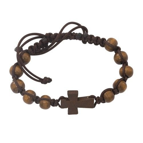 brown wood corded cross bracelet communion gift for boys