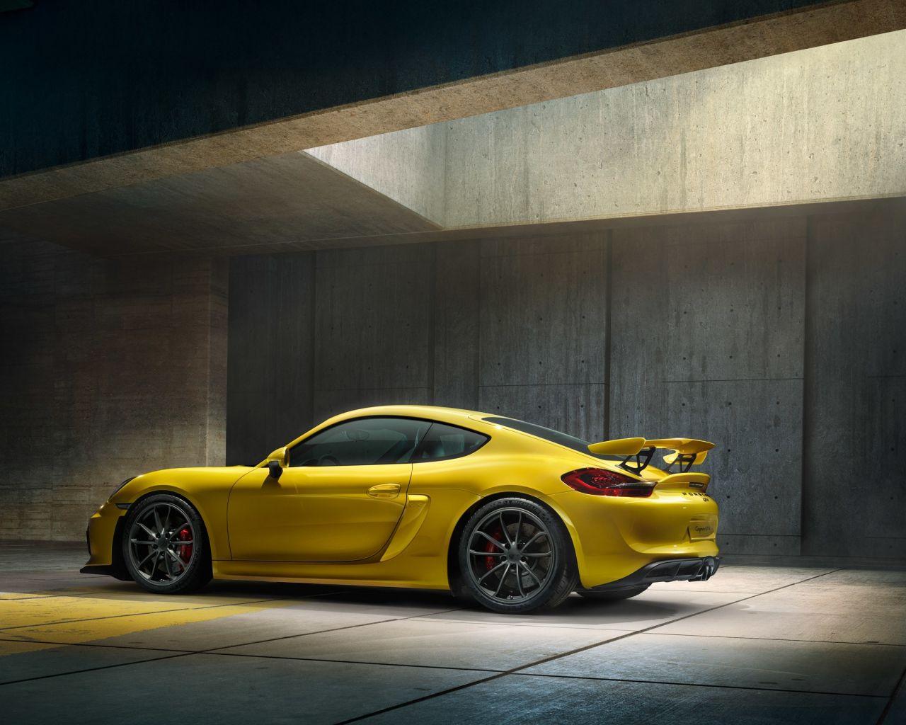 1280x1024 Wallpaper Porsche Cayman Gt4 Yellow Side View Cayman Gt4 Porsche New Porsche