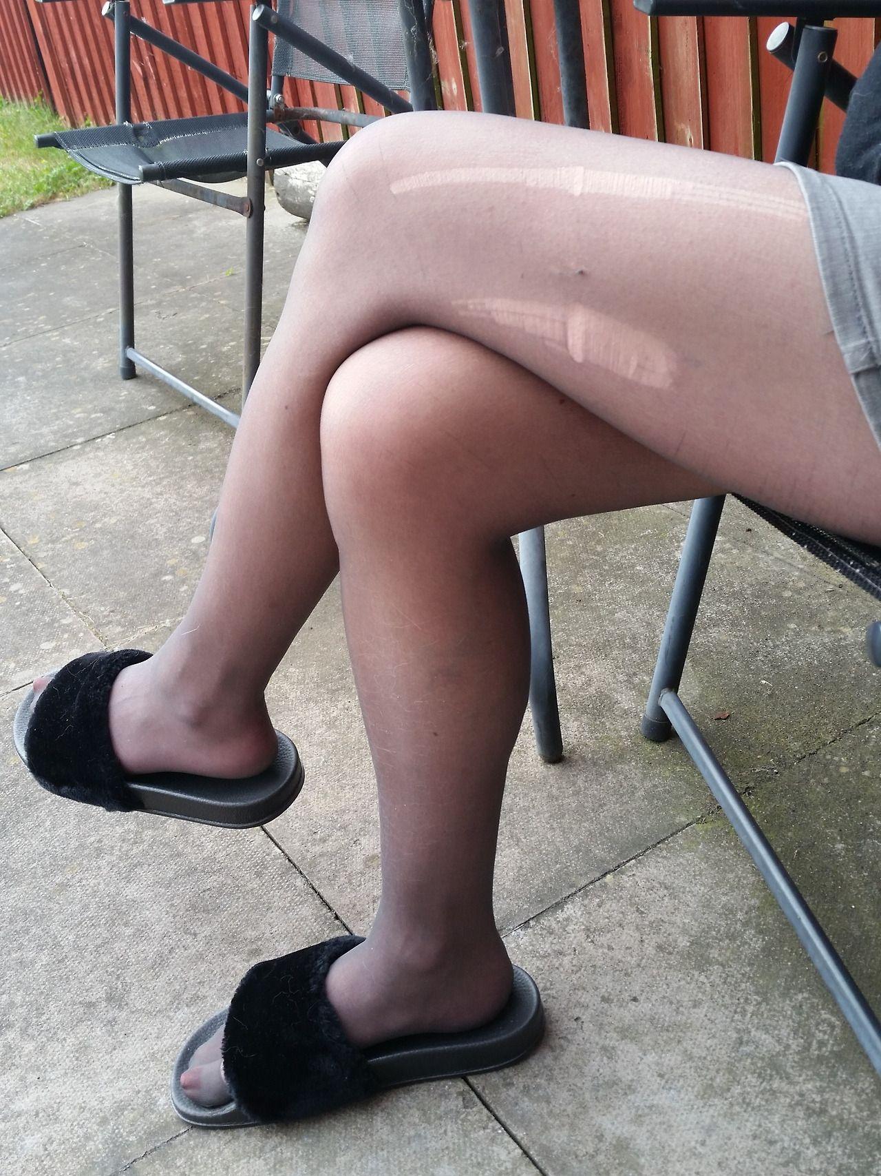 Under my pantyhose feet