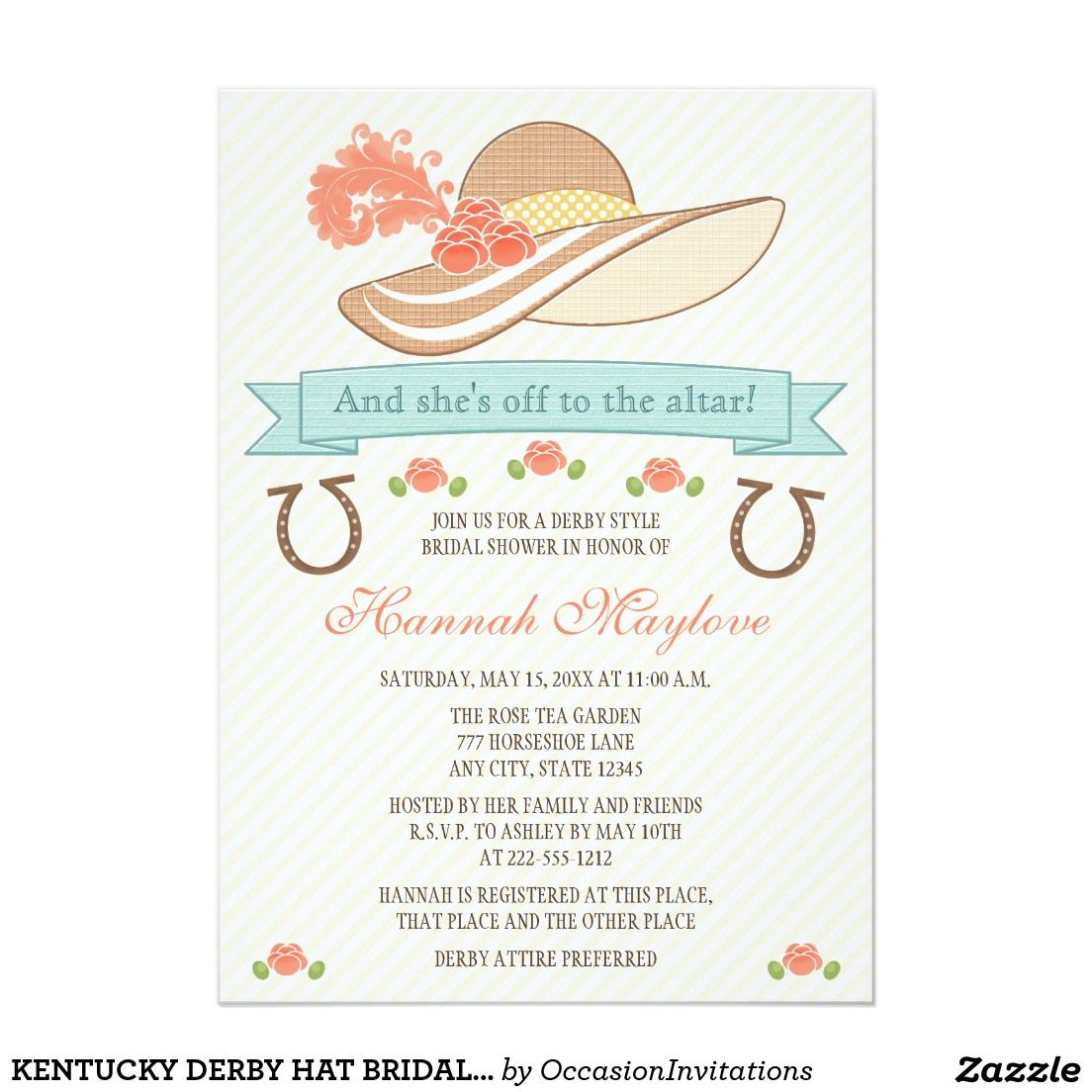 Kentucky derby hat bridal shower invitation | Bridal Shower ...