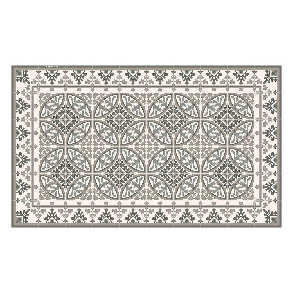 Beija Flor Barcelona Vinyl Floor Mat Pale Grey Runner Living
