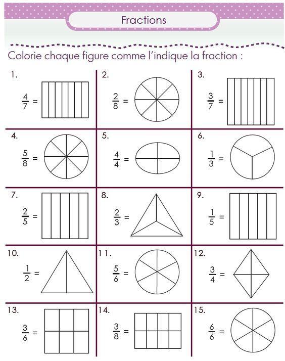 Découvrir les fractions en CM1 : un pack de fiches | Fractions, Mathématiques ce2 et ...