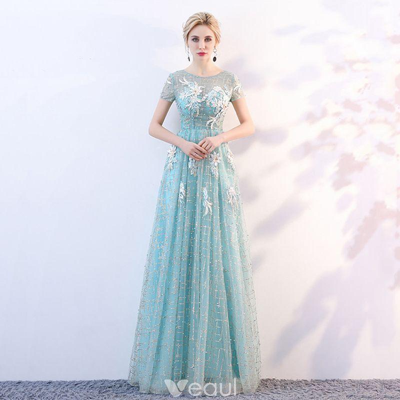 859ffb8645c ... Backless Formal Dresses. Mooie   Prachtige Blauw Doorzichtige  Avondjurken 2018 A lijn Ronde Hals Korte Mouwen Glans Tule Appliques Bloem  Lange Ruche ...