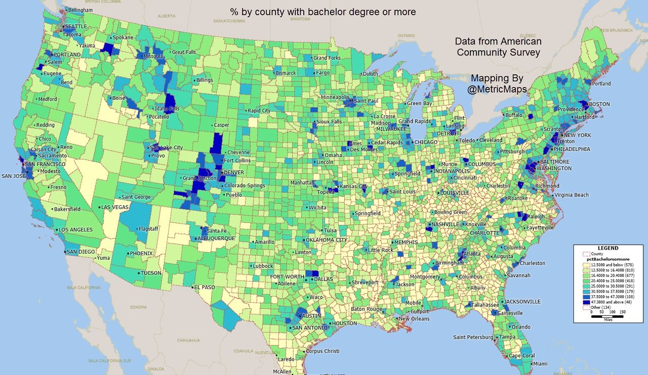 the best educated counties have a few things in common theyre home to big universities and theyre almost all suburban