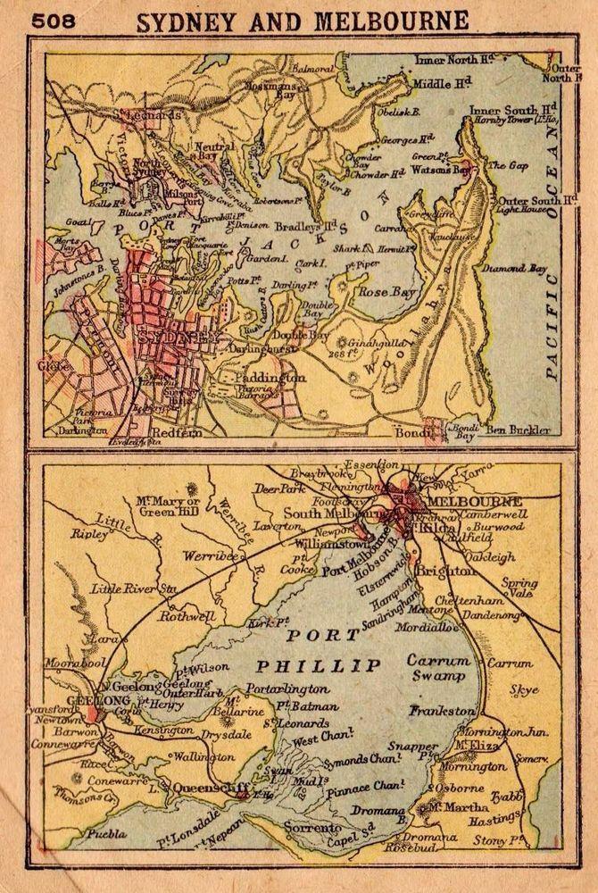 1902 Antique Sydney Map Melbourne Australia Map Rare Miniature Map 2752 Miniature Map Sydney Map Melbourne Map