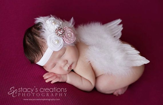 Baby headband new born headband exotic feather headband