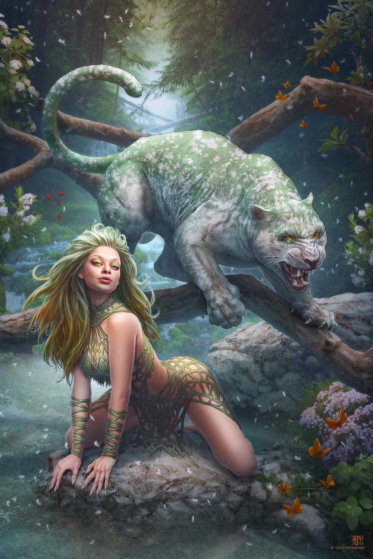 Картинки фэнтези девушка и зверь