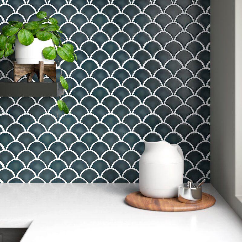 Domino 10 X 13 Fish Scale Porcelain Mosaic Tile Reviews Allmodern In 2020 Porcelain Mosaic Tile Porcelain Mosaic Mosaic Tiles