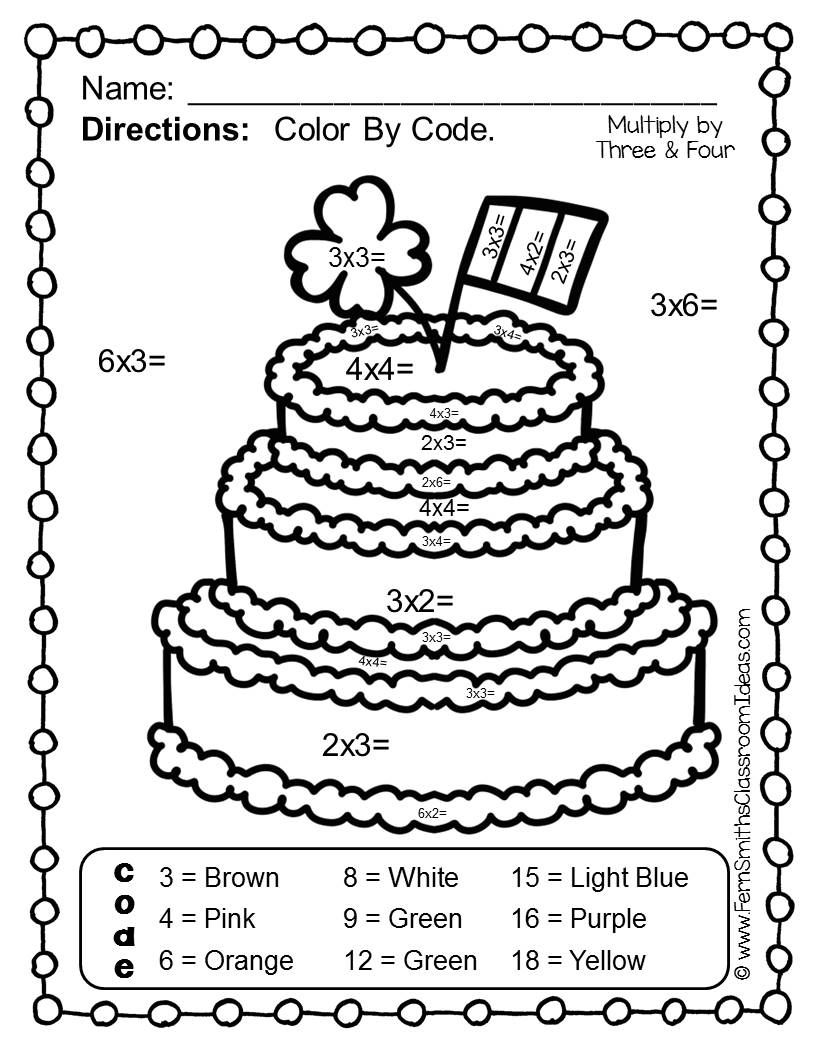 - St. Patrick's Day Color By Number Multiplication Math