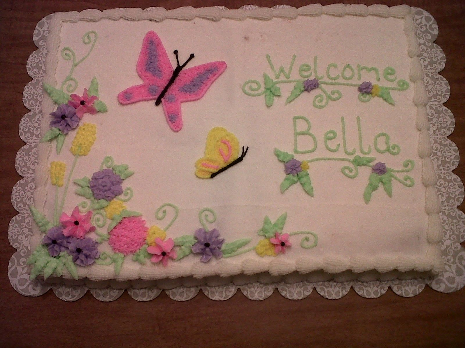 Elmo Butterflies And Flowers Baby Shower Cake Designs Baby Shower Cakes Girl Birthday Sheet Cakes