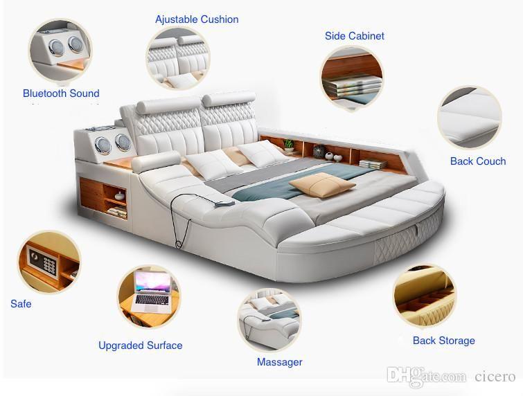2019 Smart Bed With Multifunction Bluetooth Massage Tatami Big