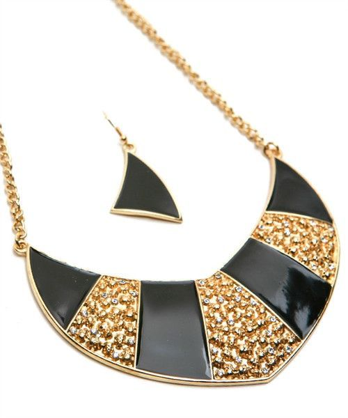 BLACK AND GOLD STATEMENT NECKLACE WITH MATCHING EARRINGS