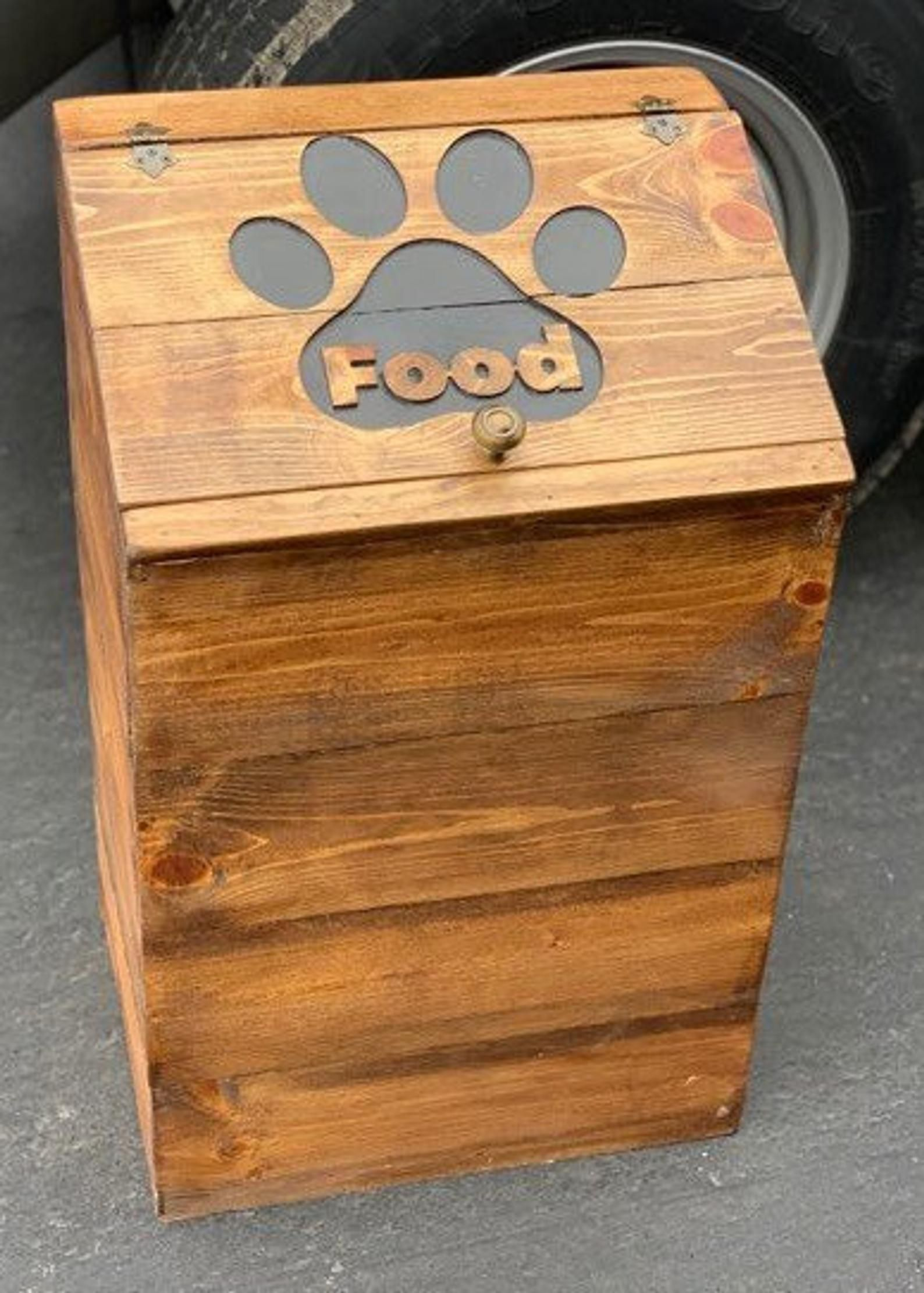 Customizable Wooden Dog Food Storage Container Dog Food Bin Etsy