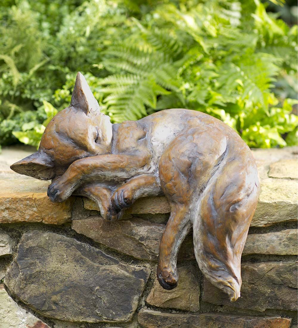 Sleeping Fox Figurine Ornament Statue Resin Brown White Indoor//Outdoors