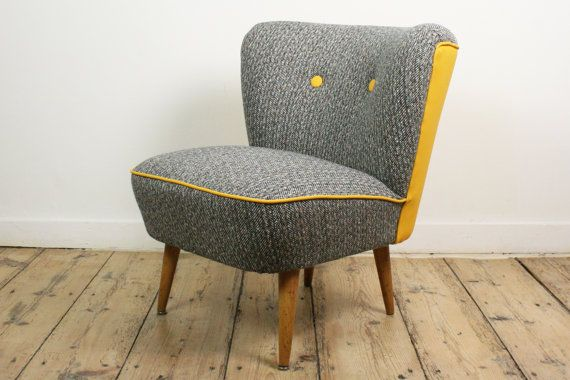 Cocktail Chair Reupholstered 1950 S Vintage Club Chair