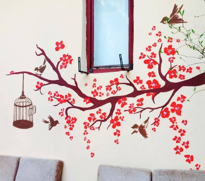 Birds On The Tree Wall Painting Free Birds Cage Tree Outside