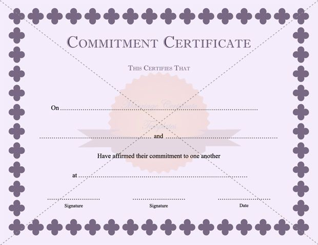Golden Color Commitment Certificate Template