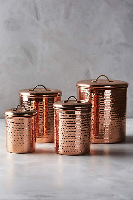 Copper-Plated Canisters, Set Of 4