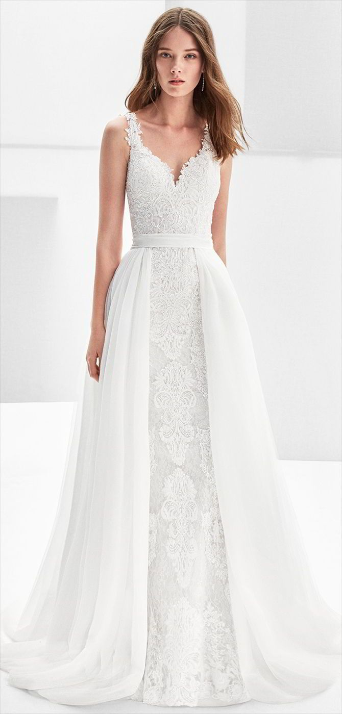 Alma novia mermaidstyle guipure lace wedding dress with