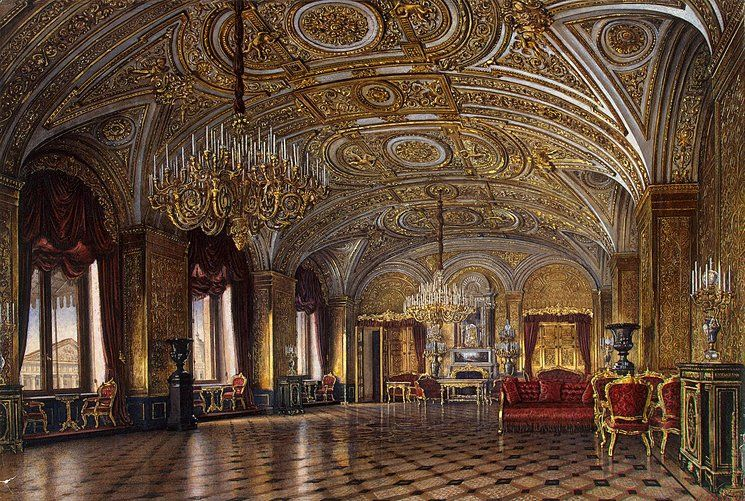 Interiors of the Winter Palace. The Gold Drawing-Room ...