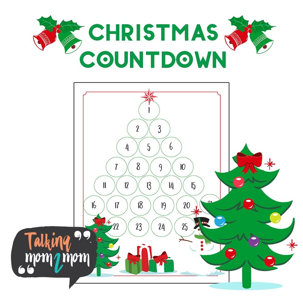 Impressive Printable Christmas Countdown 2020 For Kids in 2020